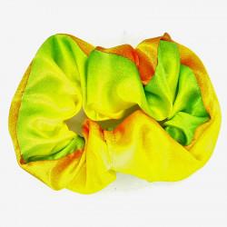 Green & Yellow Satin Scrunchie