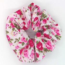 White Cerise Floral Scrunchie