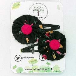 Black & Hot Pink Hair Clips