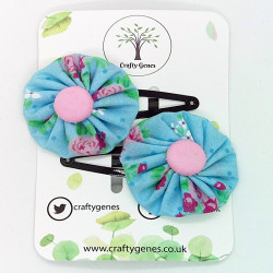 Blue & Pink Floral Hair Clips