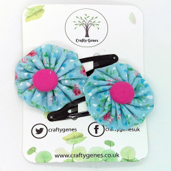 Blue Ditsy Floral Hair Clips