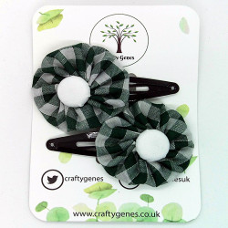 Dark Green Gingham Hair Clips