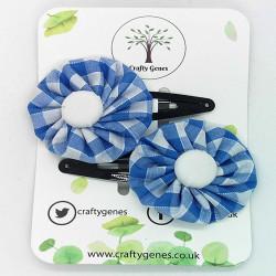 Light Blue Gingham Hair Clips