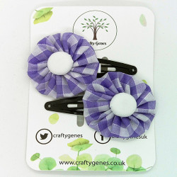 Lilac Gingham Hair Clips