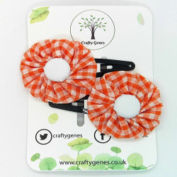 Orange Gingham Hair Clips