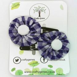 Purple Gingham Hair Clips