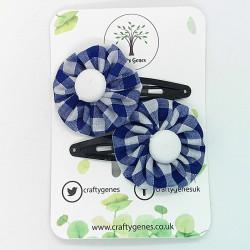 Royal Blue Gingham Hair Clips