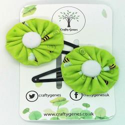 Green Bee Hair Clips