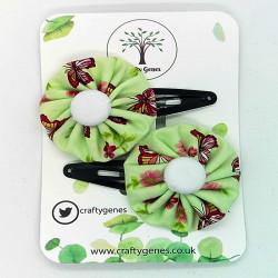 Green Butterfly Hair Clips