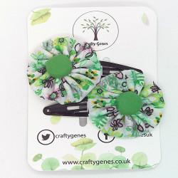 Green Floral Hair Clips