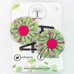 Green & Pink Floral Hair Clips