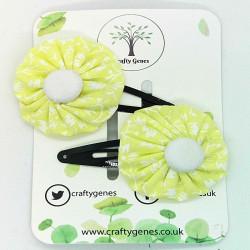 Lemon Floral Hair Clips