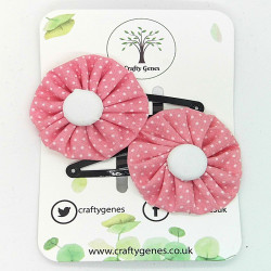Pink Dotty Hair Clips
