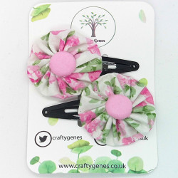 White & Pink Floral Hair Clips
