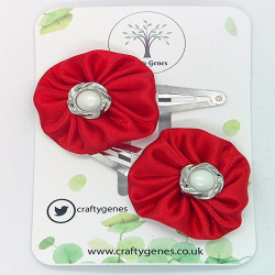 Red Satin Hair Clips