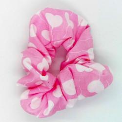 Pink Heart Hair Scrunchie