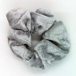 Silver Velvet Hair Scrunchie